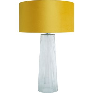 Habitat Whitstable Clear Ribbed Glass Table Lamp With Yellow Velvet Shade, Clear