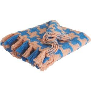 Habitat Yolanda Blue And Pink Houndstooth Wool Blend Throw 130 X 170cm, Blue And Pink, Blue And Pink