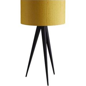 Habitat Yves Black Metal Table Lamp With Yellow Silk Shade, Yellow