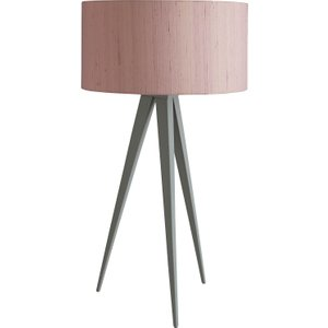 Habitat Yves Grey Metal Table Lamp With Pink Silk Shade, Grey