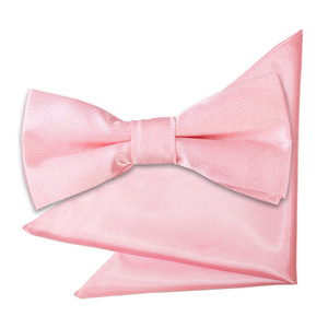 Baby Pink Plain Satin Bow Tie & Pocket Square Set For Boys