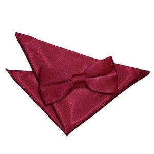 Burgundy Plain Satin Bow Tie & Pocket Square Set