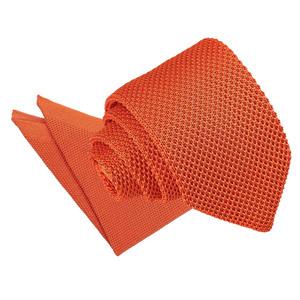 Burnt Orange Knitted Slim Tie & Pocket Square Set