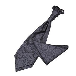 Charcoal Grey Paisley Wedding Cravat & Pocket Square Set