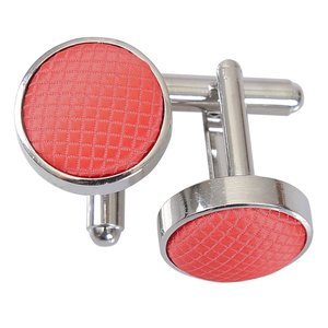 Coral Solid Check Cufflinks