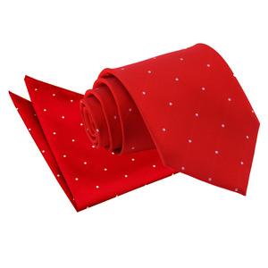 Dark Red Pin Dot Tie & Pocket Square Set