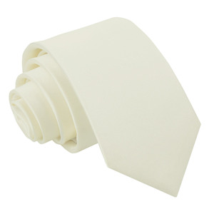 Ivory Plain Satin Regular Tie For Boys