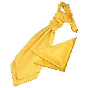 Marigold Plain Satin Wedding Cravat & Pocket Square Set For Boys