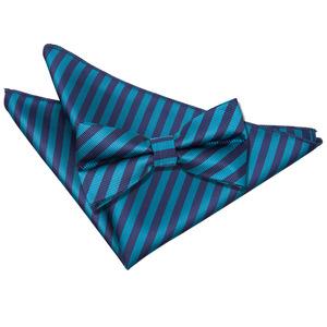 Navy Blue & Teal Thin Stripe Bow Tie & Pocket Square Set