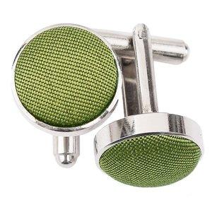 Olive Green Plain Shantung Cufflinks