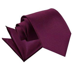 Plum Plain Satin Tie & Pocket Square Set