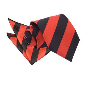 Red & Black Striped Tie & Pocket Square Set