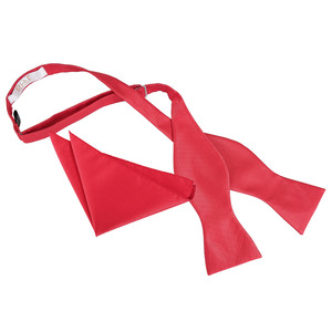 Red Solid Check Self-tie Bow Tie & Pocket Square Set