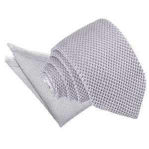 Silver Knitted Slim Tie & Pocket Square Set