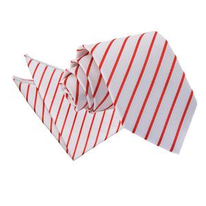 White & Red Single Stripe Tie & Pocket Square Set