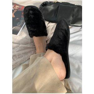Black Fluffy Closed Toe Slipper Size: Footwear 6 Uk, Colour: Black A20tr0910bk6