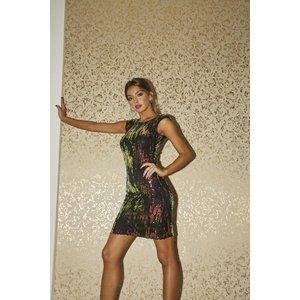 Girls On Film Aion Petrol Sequin Bodycon Mini Dress Size: 18 Uk, Colou A9gf0101bk18