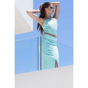 Girls On Film Aqua Blue Strappy Crop Top Size: 14 Uk, Colour: Aqua Ss16 Gfbc006 8314