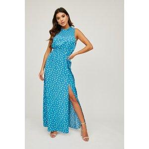 Girls On Film Auden Blue Polka-dot Maxi Dress Size: 10 Uk, Colour: Lig S20gf0101bl10