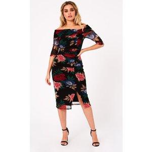 Girls On Film Betsy Black Floral-print Bardot Midi Dress Size: 14 Uk, A9gf0123mu14