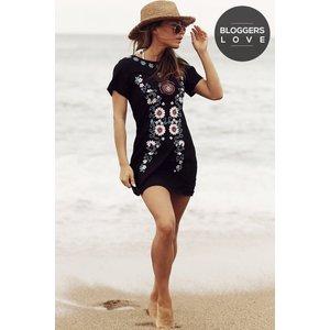 Girls On Film Black Embroidered Dress Size: L, Colour: Black Ss16 Gfab028 99l