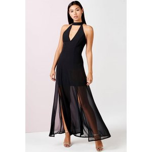 Girls On Film Black Keyhole Maxi Dress With Slits Size: 8 Uk, Colour: Aw16 Gfad002 998