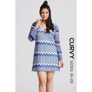 Girls On Film Blue And White Chevron Print Dress Size: 16 Uk, Colour: 5702791391231