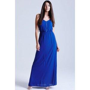 Girls On Film Blue Chiffon Maxi Dress Size: 14 Uk, Colour: Blue Ss15 Gfad007 7014