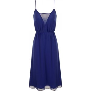 Girls On Film Blue Strappy Mesh Insert Swing Dress Size: 10 Uk, Colour Ss14 Gfab016 7010