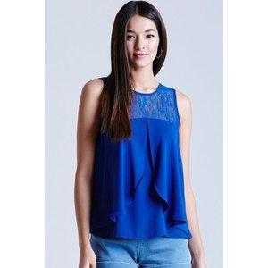Girls On Film Cobalt Chiffon Lace Top Size: 10 Uk, Colour: Blue Ss15 Gfbc007 7010