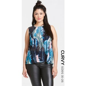 Girls On Film Curvy Blue Print And Black Lace Top Size: 16 Uk, Colour: Ss16 Gcbb004 2416