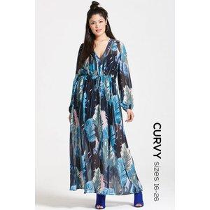 Girls On Film Curvy Blue Print Maxi Dress Size: 22 Uk, Colour: Blue Pr Ss16 Gcad001 2422