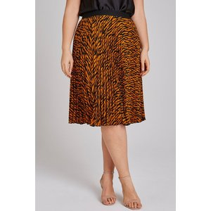 Girls On Film Curvy Tiger Pleat Midi Skirt Size: 24 Uk, Colour: Tiger A8of0501br24