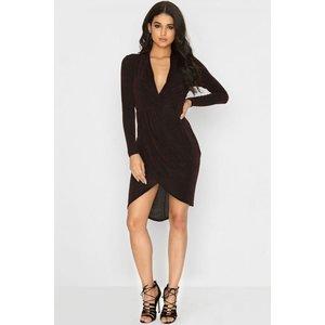 Girls On Film Dark Burgundy Plunge Dress  Size: 16 Uk, Colour: Burgund A7gf0166mu16
