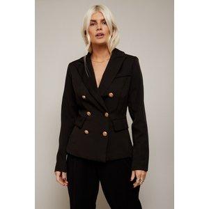 Girls On Film Draper Black Double-breasted Blazer Co-ord Size: 10 Uk, A9gf0604bk10