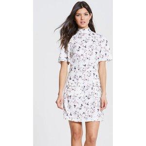Girls On Film Floral Print High Neck Dress  Size: 8 Uk, Colour: Print Ss16 Gfab011 248