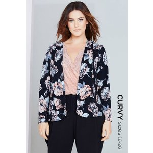 Girls On Film Floral Print Waterfall Jacket Size: 22 Uk, Colour: Black Aw16 Gcde001 2422