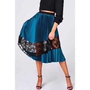 Girls On Film Freyja Green Pleated Lace Midi Skirt Size: 16 Uk, Colour A9gf0501gr16