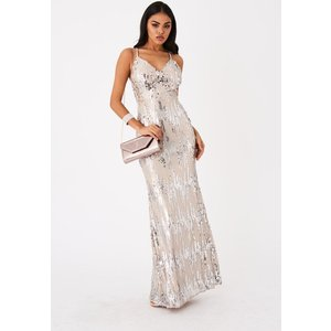 Girls On Film Frost Silver Sequin Maxi Dress Size: 8 Uk, Colour: Silve A9gf0101sl8