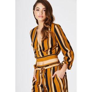 Girls On Film Ginny Top  In Mustard Stripe Size: 12 Uk, Colour: Print A8gf0416mu12