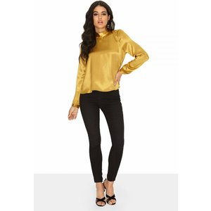Girls On Film Gold Bow Blouse  Size: 6 Uk, Colour: Gold A7of0403gd6