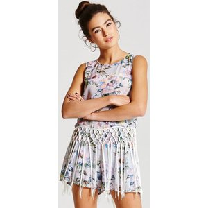 Girls On Film Grey Floral Fringed Top Size: 10 Uk, Colour: Print Aw15 Gfbc001 2410