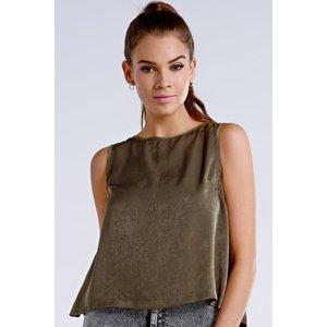 Girls On Film Khaki Open Back Sleeveless Top Size: 10 Uk, Colour: Khak Ss15 Gfbe001 8910