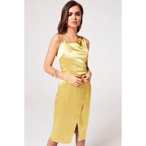 Girls On Film Kingly Yellow Satin Midi Slip Dress Size: 8 Uk, Colour: S9gf0104yl8