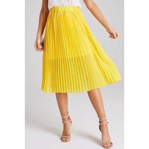 Girls On Film Luca Yellow Pleated Midi Skirt Size: 16 Uk, Colour: Yell S9gf0502yl16