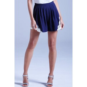 Girls On Film Navy And White Lace Detail Short Size: 12 Uk, Colour: Na Ss15 Gfen001 7812