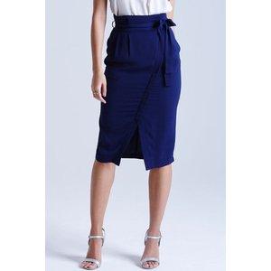 Girls On Film Navy Cross-over Midi Skirt  Size: 14 Uk, Colour: Navy Ss15 Gfga001 7814