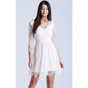 Girls On Film Nude Eyelash Lace Dress Size: 16 Uk, Colour: Nude Ss15 Gfac005 0516