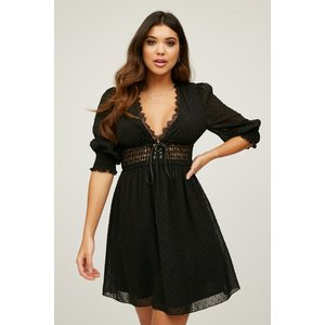 Girls On Film Oritz Black Dobby Lace-up Mini Dress Size: 12 Uk, Colour S20gf0102bk12