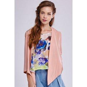 Girls On Film Peach Open Waterfall Jacket Size: 18 Uk, Colour: Peach Ss15 Gfdb002 0618